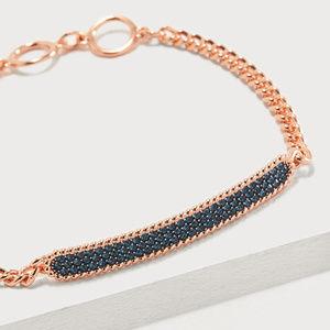 Swarovski Locket Bracelet Rose Gold Blue Crystals